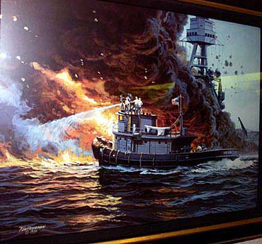 USS Hoga at the Bombing of Pearl Harbor Painting of USS Hoga fighting fires