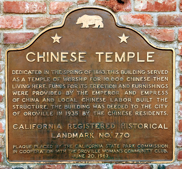 Oroville California Map >> California Historical Landmark 770: Oroville Chinese Temple in Butte County