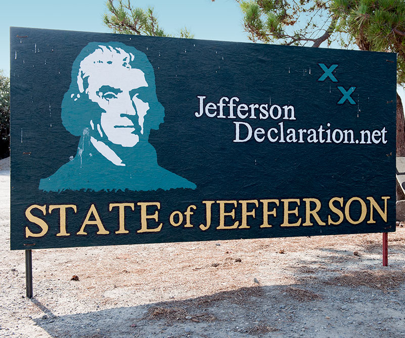 The town of Williams welcomes you to the State of Jefferson.