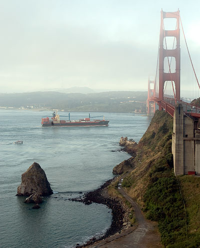 Freighter Embarking Through the Golden Gate